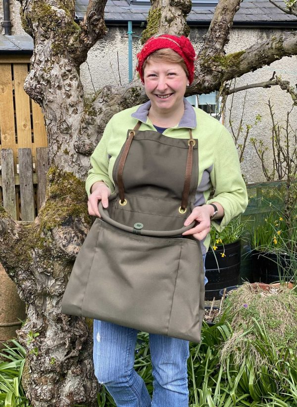 Heavy duty fruit picking apron, hand made with large pocket and adjustable strap